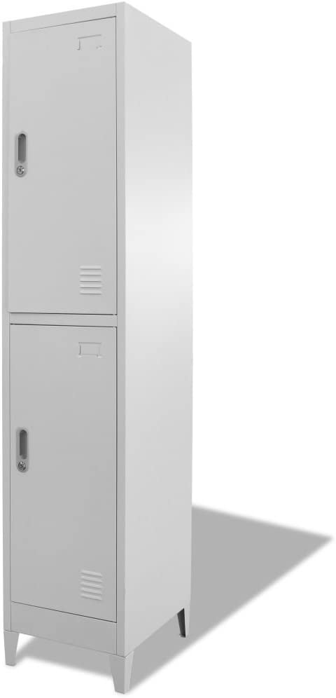 Festnight Locker Cabinet with 2 Storage Compartments and Lockable Doors Metal File Office Cabinet for Company Changing Room, Sports Room, School Gray 15 x 17.7 x 70.9 Inches (W x D x H)