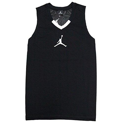 Nike Men's Jordan Rise Jersey 4 Sleeveless Shirt, Black/White/Reflective Silver, Large