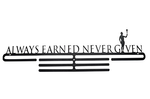 OFG Medal Hanger for Displaying and Hanging Ribbons on a Rack Out of Black Powder Coat Steel (Always Earned Never Given, Black) (Design Outdoor Furniture Toronto)