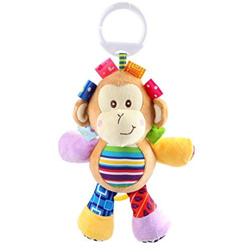 Rolina Baby Musical Stroller Crib Toys Cute Animal Rattle Plush Doll for Infant Toddler Kids (Monkey)