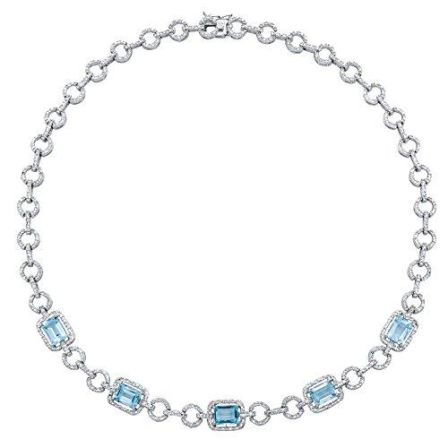 Genuine Emerald-Cut Blue Topaz and Diamond Accent Silvertone Halo Necklace 17