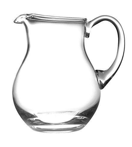 Barski Handmade Round Glass Pitcher with handle, With Spout, Ice Lip, 64 oz., Great for Kool aid, Made in Europe ()