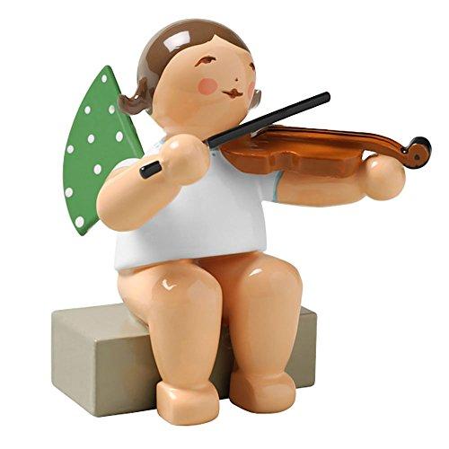 Wendt & Kuhn Brunette Hand Painted Grunhainichen Angel Viola Figurine Sitting