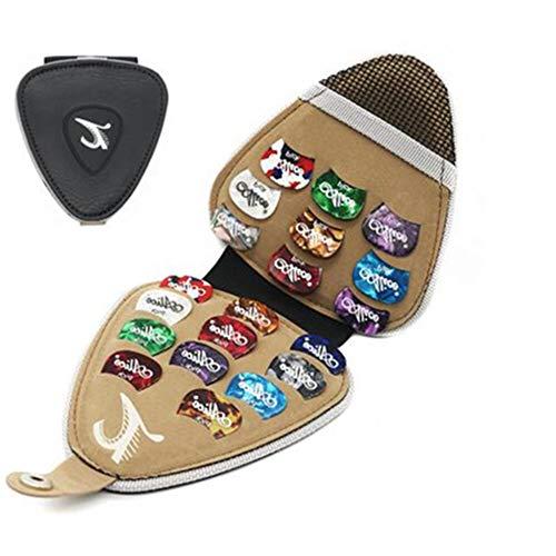 ELEOPTION Guitar Pick Holder Keychain with Free Acoustic Electric Guitar Picks Variety Pack Guitar Picks Holder Wallet Case Gift for Men Women Kids (Leather Pick Holder- 20 picks)]()