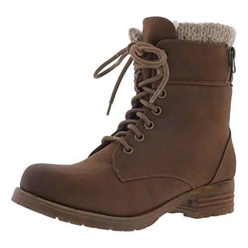 Steve Madden Fur Boots - Steve Madden Womens Milina Faux Fur Lined Combat Boots Brown 5 Medium (B,M)