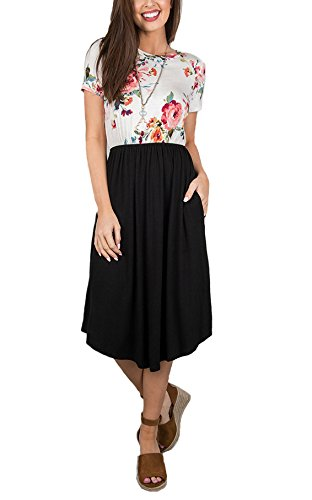 Annystore Women\'s Dress with Pockets - Summer Sleeveless Button Casual Loose Swing T-Shirt Short Dress (6039-Black, Large)