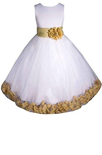AMJ Dresses Inc Little-Girls' White/Gold Flower Girl Dress E1008 Sz 6