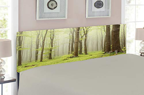 Ambesonne Woodland Headboard for Full Size Bed, Misty Springtime Beech Forest Photo Taken in The Mountains of Central Europe, Upholstered Decorative Metal Headboard with Memory Foam, Brown Green