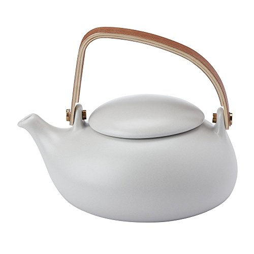 ZENS Ceramic Teapot 28OZ/800ML, Matte Finish Smooth Texture, with Nature Bentwood Handle, Pebble Shape Lid, and Stainless Steel Strainer for Flower Loose Leaf Tea Steeping