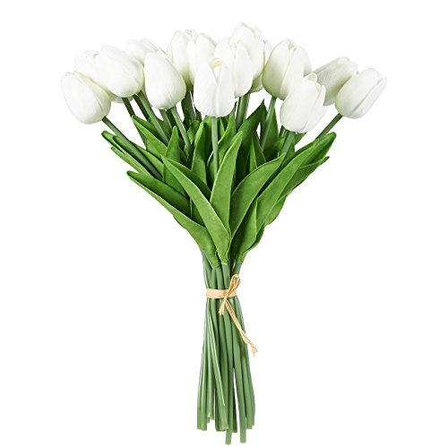 lips - 24 Pack Silk Flowers Tulips Bouquet, Fake Flowers Wedding Party, Valentine's Day, Home Decoration, White ()