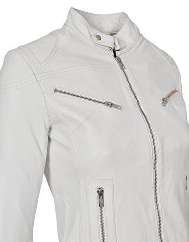 Pelle Vera Donna Da Biker Attrezzato Casuale In Bianco Stile Giacca Khloe qfABTw