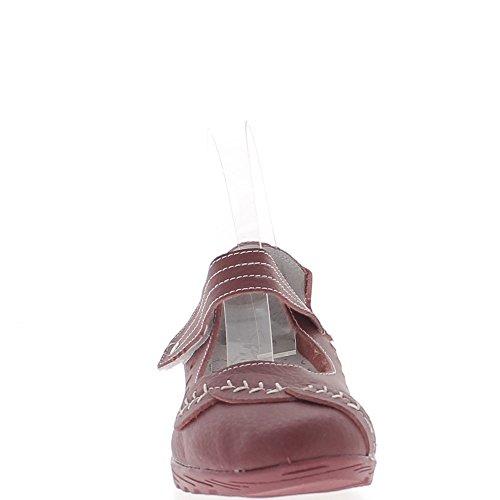 Confort zapatos de cuero de mujer de tacón 4 cm rojo