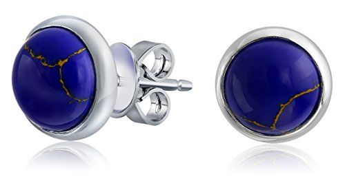 Simple Blue Synthetic Blue Lapis Lazuli Bezel Set Round Dome Button Stud Earrings For Women 925 Sterling Silver