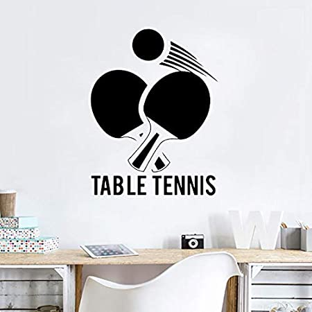 BJWQTY tenis de mesa tatuajes de pared tenis de mesa diseño arte de la pared mural gimnasio cartel de la pared decoración amante de los deportes fondo de pantalla 57x73cm