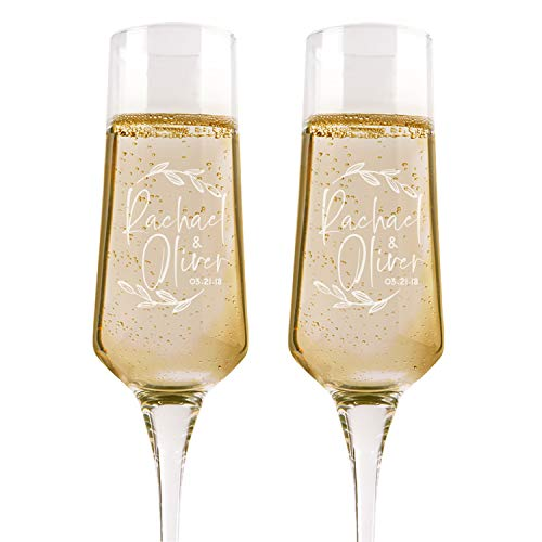 Set of 2, Personalized Wedding Champagne Flutes, Floral, Toasting Glasses for Bride and Groom, Wedding Toast Glasses - Wedding Registry By Brides Name, Wedding Gift - Groom Design Toasting Flutes
