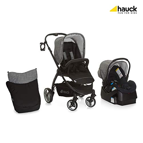 (Hauck Polo Travel System with Infant Car Seat and Base, Lightweight Stroller with Reversible Seat Unit, Boot Cover, Height-Adjustable Handle and Cup Holder, Small Folding Stroller)