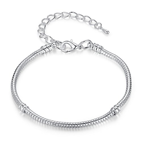 Lishfun 5 Style Silver Color Love Snake Chain Bracelet & Bangle 16CM-21CM Pulseras Lobster PA1104,Adjustable PA1131