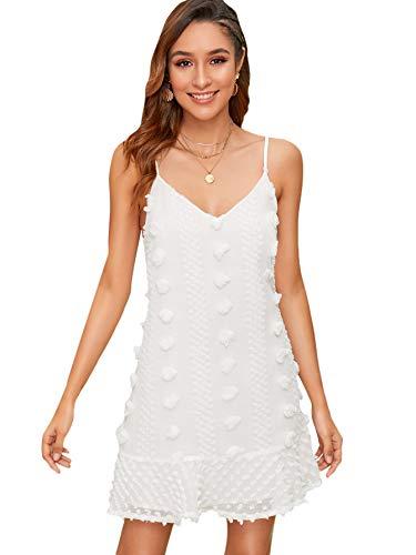SheIn Women's Swiss Dot Sleeveless Ruffle Hem Off Shoulder Cami Short Dress Small White