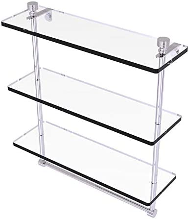 Allied Brass FT-5 16TB Foxtrot Collection 16 Inch Triple Tiered Integrated Towel Bar Glass Shelf, Polished Chrome