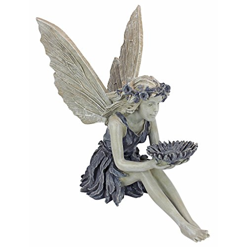 Sculpture Myers - Design Toscano EU41620 The Sunflower Fairy Garden Statue Bird Feeder, 20 Inch, Two Tone Stone