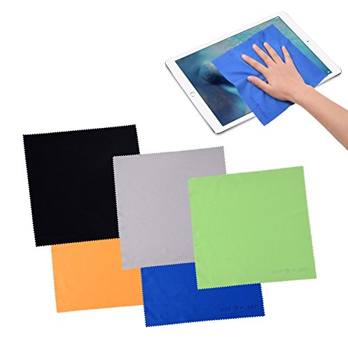 - Extra Large Microfiber Cleaning Cloths - 5 Pack - 8 x 8 inch (Black, Grey, Green, Blue, Yellow)