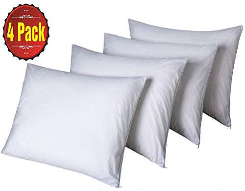 (Niagara Sleep Solution Pillow Protectors Queen Lab Certified Ultra Fresh 4 Pack 20x30inches 100% Cotton White Non Crinkle Quiet Breathable Zipper Covers Cases Set)
