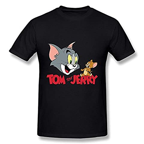 WunoD Men's Tom And Jerry Cartoons T-shirt Size M (Tom And Jerry Tee Shirts)