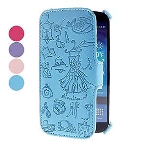 CL - Muchacha de la historieta del patrón pu estuche de cuero para Samsung Galaxy S4 i9500 (colores surtidos) , Púrpula