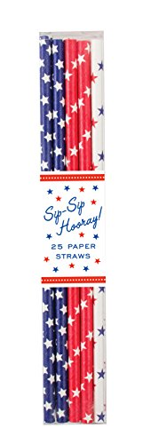 Party Partners 25 Count Patriotic Star Assortment Patterned Paper Straws, Red/White/Blue