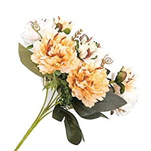 TELLW 1 bunch/2pcs Artificial Simulation 5-Head European Small Peony Simulation Peony Flowers Simulation Camellia Peony 93
