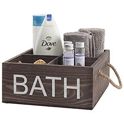 MyGift 4-Compartment Rustic Dark Brown Wood Bathroom Organizer Bin with Handles - Rustic brown wood bathroom organizer basket with 4 slots for storing supplies Rope handles allow for easy carrying Rustic brown wood construction with decorative BATH lettering complements a variety of decors - organizers, bathroom-accessories, bathroom - 41KzH0pl zL. SS400  -