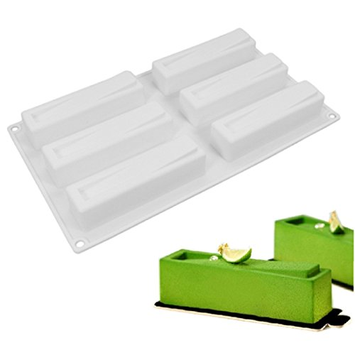 OMAS 6 Cavity Rectangle Silicone Mousse Cake Mold- Not Sticky Cake Decoration Mould For Mousse,Chocolate Brownie,Jelly,Ice Cream,Chiffon,Cheesecake,Fondant