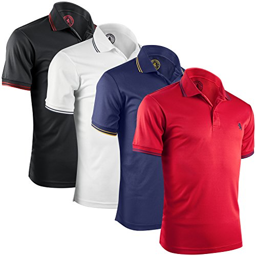 Albert Morris Mens Striped Short Sleeve Polo Shirts 4 Pack (American Classics, Large)