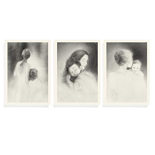 Set of 3 Mother and Child's Portraits, Prints of Original drawing, Special Gift for New Mom and baby, Hug, Unframed