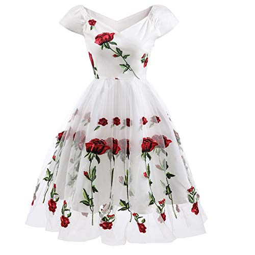 Women Vintage 1950s Embroidered Rose Cocktail Party Dress