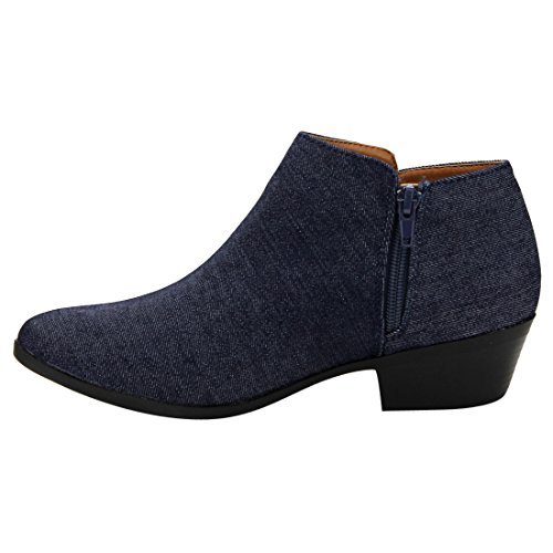 Bella Marie AE47 Damen Seitliche Reißverschluss Stacked Block Heel Ankle Booties Navy Denim