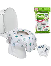 Toilet Seat Covers- Disposable XL Potty Seat Covers, Individually Wrapped by Potty Shields - Extra-Large, No Slip (Original- 20 Pack)