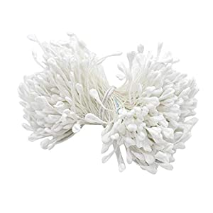 Flameer 320Pcs Artificial Flower Double Heads Stamen Matte for Craft Cards Bouquet - Rose White 10