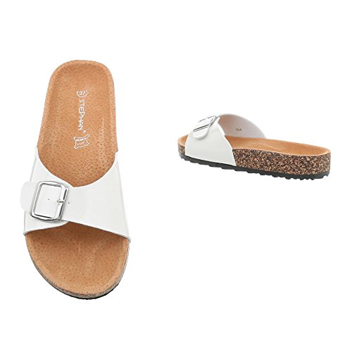 Ital-Design Zapatos Para Mujer Sandalias de Vestir Plano Zuecos Blanco KU-6