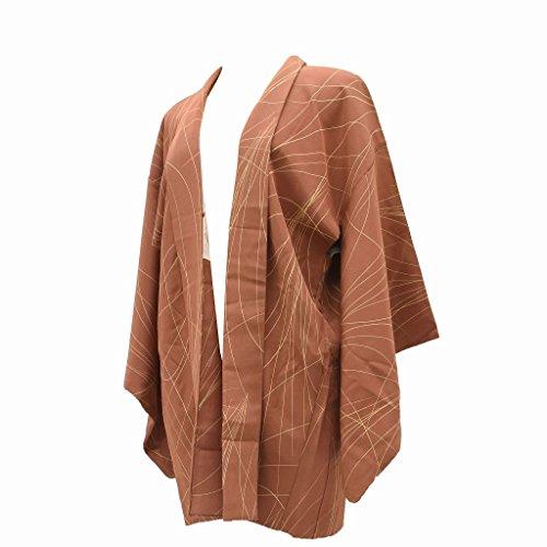 火薬ペインティングに付ける(着物ひととき) 羽織 着物 中古 リサイクル 正絹 裄63.5cm はおり 茶系 裄Mサイズ 芝草岡文様 ll0674c【中古】