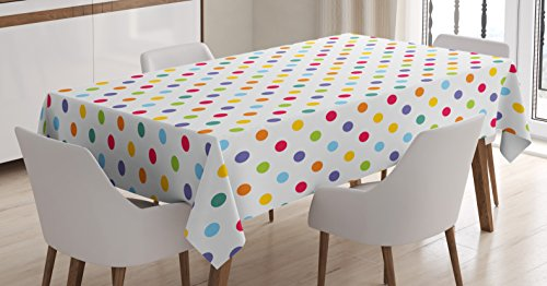 Ambesonne Abstract Tablecloth, Colorful Polka Dots Round Circular Vintage Fashion Girls Feminine Baby Design, Rectangular Table Cover for Dining Room Kitchen Decor, 60