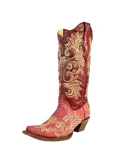 CORRAL Western Boots Exotic Womens Lizard Leather Cowboy Snip Red A3378 (8 B(M) US)