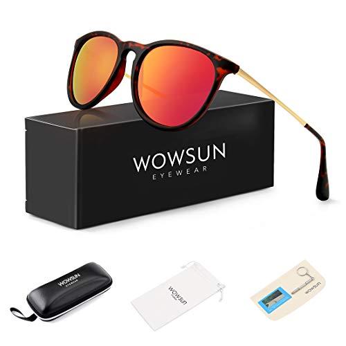 WOWSUN Polarized Sunglasses for Women Vintage Round Mirrored Lens Matte Amber frames Mirror Orange ()