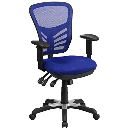 Flash Furniture Mid-Back Blue Mesh Multifunction Executive Swivel Chair with Adjustable Arms