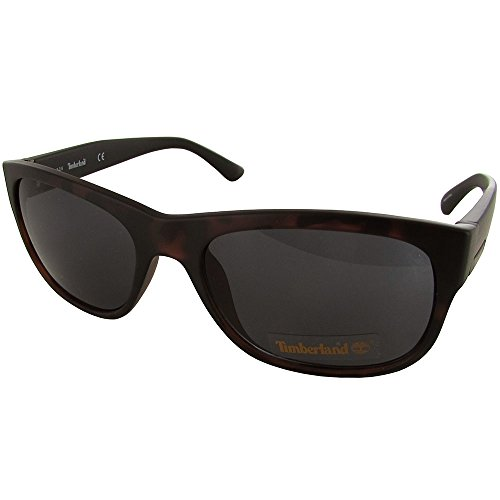 Timberland Matte Black Mens Plastic Wayfarer, Faux Wood Temples Sunglass TB7135 56A (Wayfarer Sunglasses Timberland)