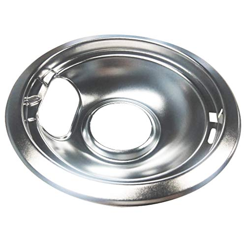(Juner Electric Range Chrome Reflector Bowls with Locking Slot Drip Pan 6 in Fits Whirlpool, Frigidaire Tappan (Silver))