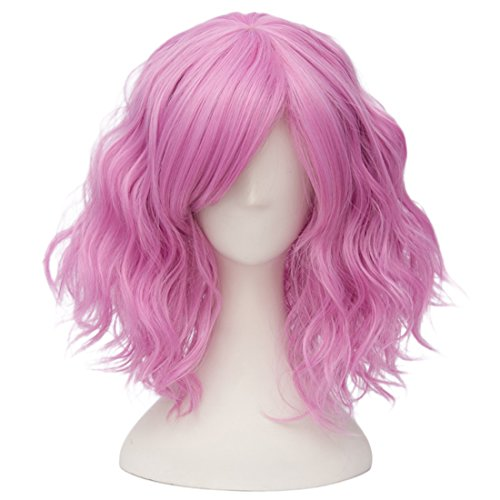Alacos Fashion 35cm Short Curly Bob Anime Cosplay Wig Daily Party Christmas Halloween Synthetic Heat Resistant Wig for Women +Free Wig Cap (Pinkish Purple) (35 Cm Natural)
