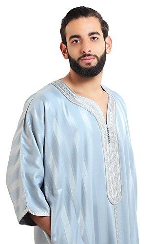 Moroccan Men Caftan Handmade Gandoura Cotton Blend Delicate Embroidery Grey by Moroccan Men Clothing (Image #3)