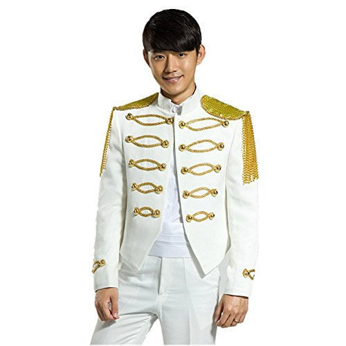 MYS Men's Royal Gold Chain Party Tuxedo Jacket and Pants Set White