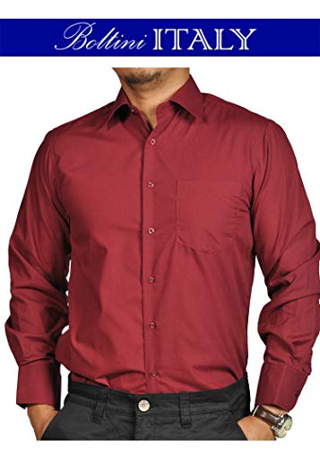 Boltini Italy Mens Solid Dress Shirts with French Convertible Cuff - Long Sleeve (Medium/Neck 15-15 1/2/Sleeve 34-35, ()
